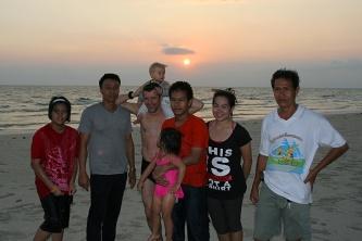 Familienfoto mit Touristen