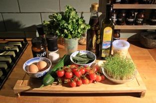 Die Zutaten (den grünen Salat bitte dazu denken)